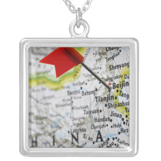 Map pin placed in Beijing, China on map, Silver Plated Necklace