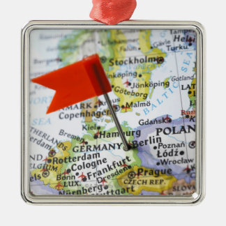 Map pin placed in Berlin, Germany on map, Christmas Ornament