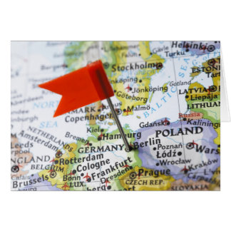 Map pin placed in Berlin, Germany on map, Greeting Card