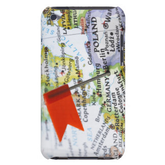 Map pin placed in Berlin, Germany on map, iPod Touch Cases