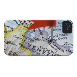 Map pin placed in Caracas, Venezuela on map, iPhone 4 Case-Mate Case