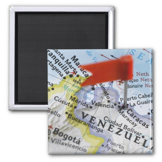 Map pin placed in Caracas, Venezuela on map, Square Magnet