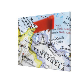 Map pin placed in Caracas, Venezuela on map, Stretched Canvas Print
