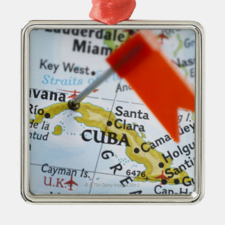 Map pin placed in Havana, Cuba on map, close-up Christmas Ornament
