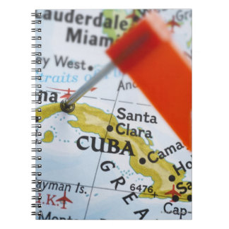 Map pin placed in Havana, Cuba on map, close-up Notebook