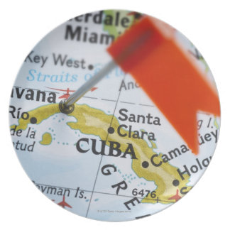 Map pin placed in Havana, Cuba on map, close-up Plate