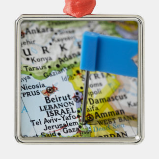 Map pin placed in Jerusalem, Israel on map, Christmas Ornament