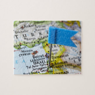 Map pin placed in Jerusalem, Israel on map, Jigsaw Puzzle