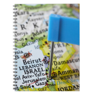 Map pin placed in Jerusalem, Israel on map, Spiral Note Book