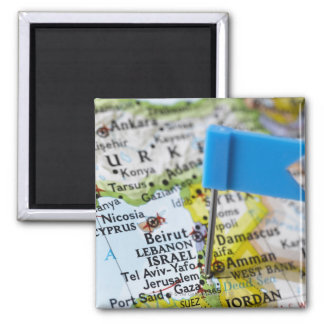 Map pin placed in Jerusalem, Israel on map, Square Magnet