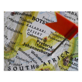 Map pin placed in Johannesburg, South Africa on Poster