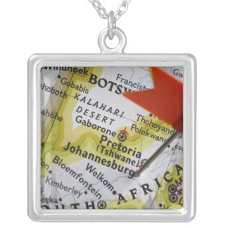 Map pin placed in Johannesburg, South Africa on Square Pendant Necklace