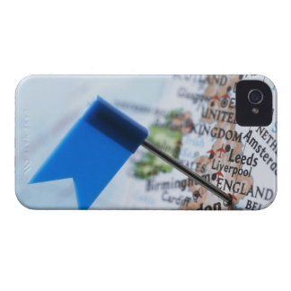 Map pin placed in London, UK on map, close-up iPhone 4 Covers
