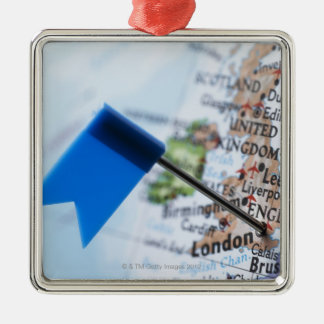 Map pin placed in London, UK on map, close-up Silver-Colored Square Decoration