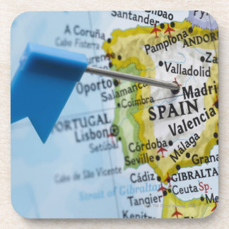Map pin placed in Madrid, Spain on map, close-up Coaster