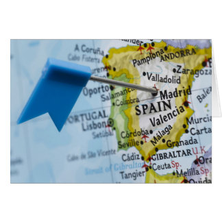 Map pin placed in Madrid, Spain on map, close-up Greeting Card