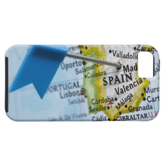 Map pin placed in Madrid, Spain on map, close-up iPhone 5 Covers