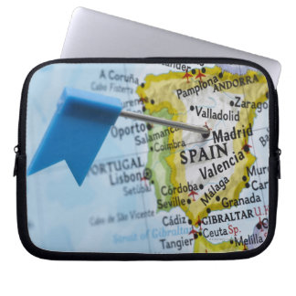 Map pin placed in Madrid, Spain on map, close-up Laptop Sleeve