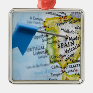 Map pin placed in Madrid, Spain on map, close-up Silver-Colored Square Decoration