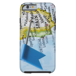Map pin placed in Madrid, Spain on map, close-up Tough iPhone 6 Case