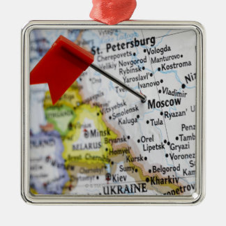 Map pin placed in Moscow, Russia on map, Christmas Ornament