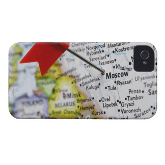 Map pin placed in Moscow, Russia on map, iPhone 4 Case-Mate Case