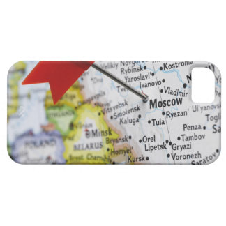Map pin placed in Moscow, Russia on map, iPhone 5 Covers