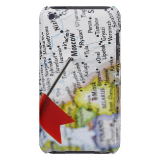 Map pin placed in Moscow, Russia on map, iPod Case-Mate Case