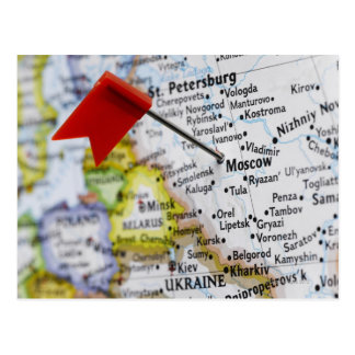 Map pin placed in Moscow, Russia on map, Postcard