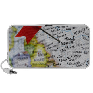 Map pin placed in Moscow, Russia on map, Portable Speakers