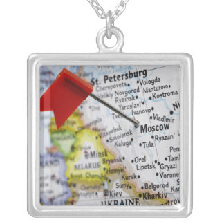 Map pin placed in Moscow, Russia on map, Square Pendant Necklace