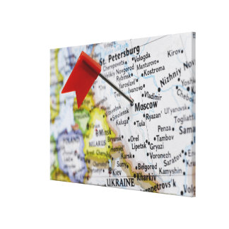 Map pin placed in Moscow, Russia on map, Stretched Canvas Print
