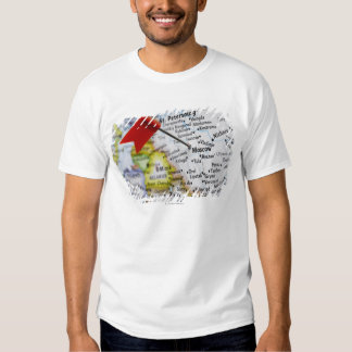 Map pin placed in Moscow, Russia on map, Tee Shirts