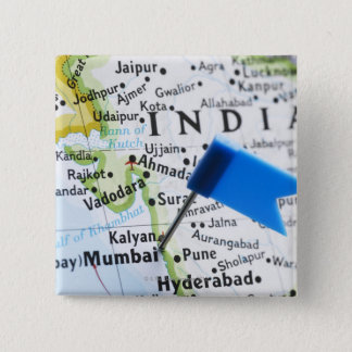 Map pin placed in Mumbai, India on map, close-up