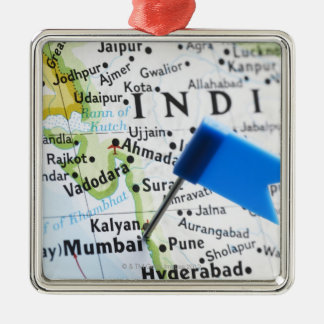 Map pin placed in Mumbai, India on map, close-up Christmas Ornament