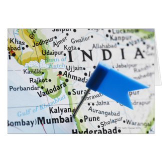 Map pin placed in Mumbai, India on map, close-up Greeting Card
