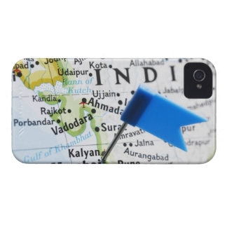 Map pin placed in Mumbai, India on map, close-up iPhone 4 Covers