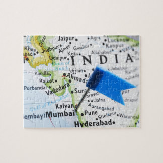 Map pin placed in Mumbai, India on map, close-up Jigsaw Puzzle