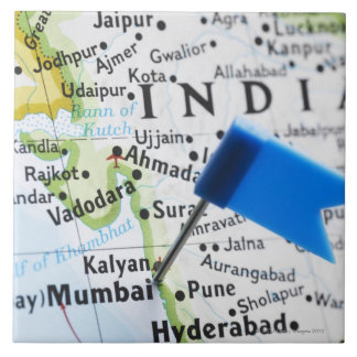 Map pin placed in Mumbai, India on map, close-up Large Square Tile