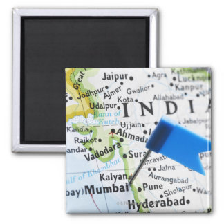 Map pin placed in Mumbai, India on map, close-up Square Magnet