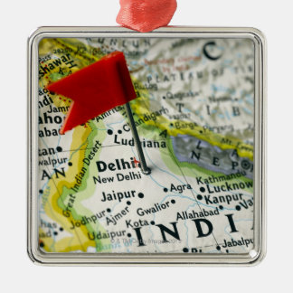 Map pin placed in New Delhi, India on map, Christmas Ornament