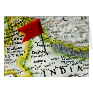 Map pin placed in New Delhi, India on map, Greeting Card