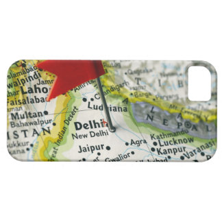 Map pin placed in New Delhi, India on map, iPhone 5 Case