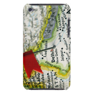 Map pin placed in New Delhi, India on map, iPod Touch Cover