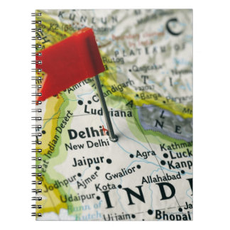 Map pin placed in New Delhi, India on map, Notebook