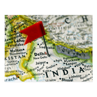 Map pin placed in New Delhi, India on map, Postcard