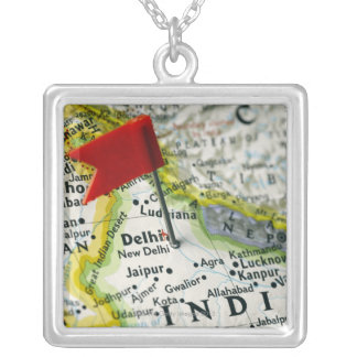 Map pin placed in New Delhi, India on map, Silver Plated Necklace