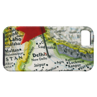 Map pin placed in New Delhi, India on map, Tough iPhone 5 Case