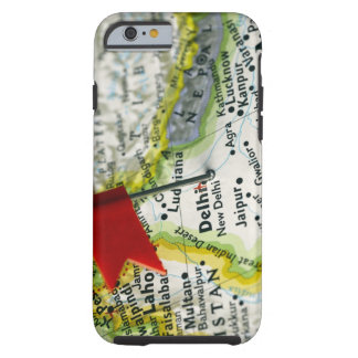 Map pin placed in New Delhi, India on map, Tough iPhone 6 Case