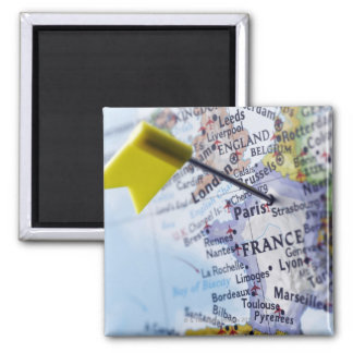 Map pin placed in Paris, France on map, close-up Square Magnet
